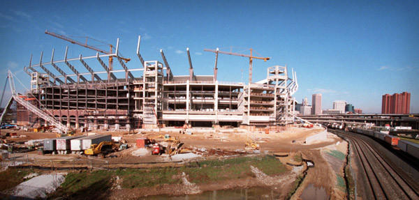 Construction on the Ravens' stadium at Camden Yards got under way in 1996.
