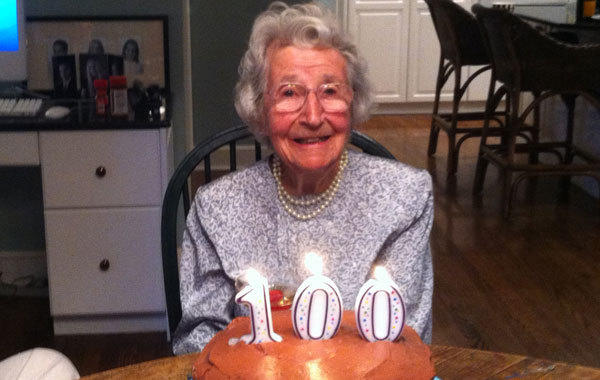 Opal Reifenberg on her 100th birthday celebration last August.