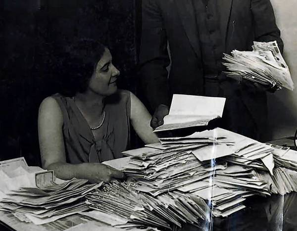 "Chicago Cubs President William Veeck, left, hired Margaret ""Midge"" Donahue as a stenographer in 1919, and named her corporate secretary in 1926, around the time this photo was taken. By the 1950s she was a vice president in the organization."