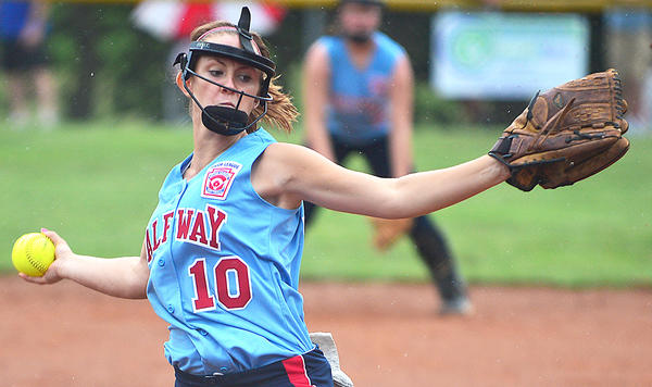 Halfway's Cierra Beaver pitches to Perryville during Sunday's Maryland State Junior Softball Tournament game in Sharpsburg.
