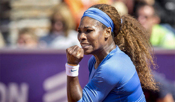 Serena Williams reacts during her victory over Johanna Larsson, 6-4, 6-1, in the final of the Swedish Open on Sunday.