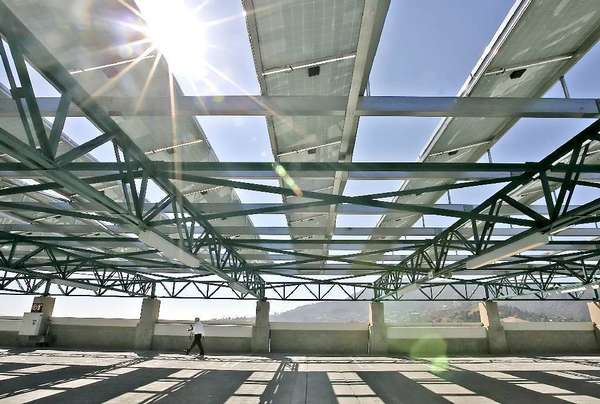 Solar panels that debuted on top of the Glendale Community College parking structure in 2008 produce energy and shade.