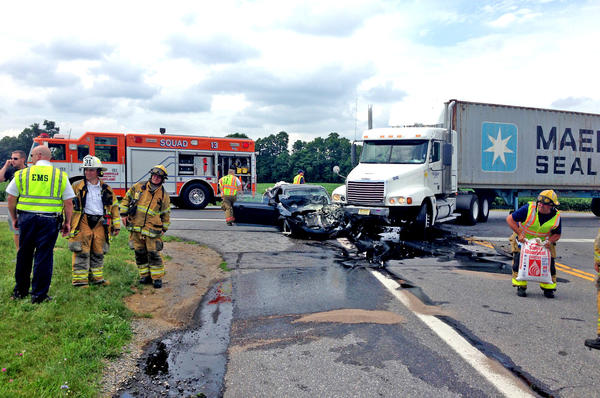 Emergency responders were at the scene of an accident involving a car and a tractor-trailer Monday afternoon at the intersection of U.S. 40 and Md. 144 west of Hagerstown.