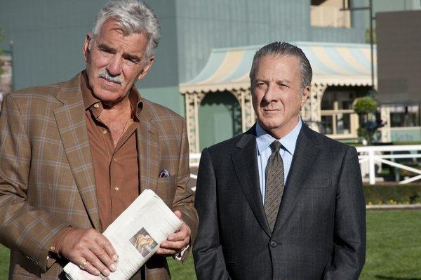 "Dennis Farina (left), who starred with Dustin Hoffman in HBO's ""Luck,"" has died."