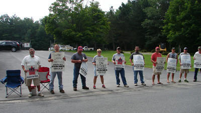 People on one of the picket lines at Cleveland Brothers Inc. in the Somerset Industrial Park. Members of Local 66 of the International Union of Operating Engineers went on strike at 3 p.m. Friday.