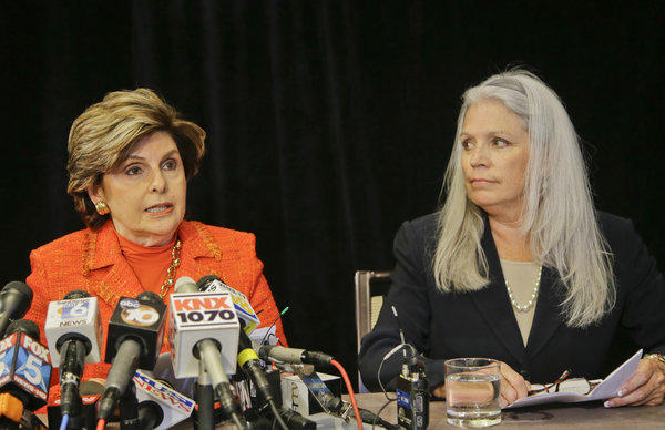 Attorney Gloria Allred, left, with her client, Irene McCormack Jackson, former communications director for San Diego Mayor Bob Filner, a news conference Monday. Jackson is suing Filner, alleging sexual misconduct.