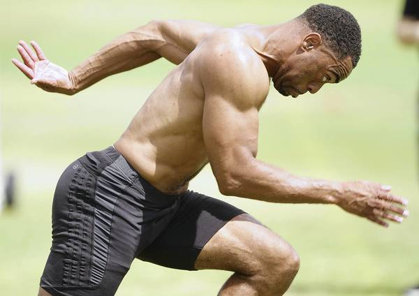 Olympic sprinter Tyson Gay trains at the National Training Center in Clermont on Friday, March 30, 2012.