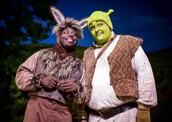 James Earl Jones II as Donkey and Michael Aaron Lindner as Shrek.