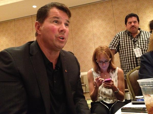 Al Golden faces questions at the ACC Football Kickoff in Greensboro, N.C.