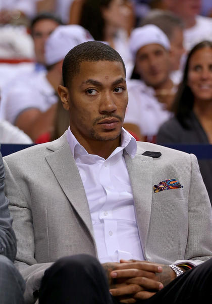 Derrick Rose before Game 5 against the Heat on May 15. (Getty Photo)