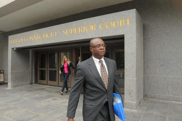 Edwin Njoku leaves Hartford Superior Court Monday afternoon.