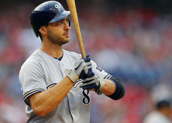 The Brewers' Ryan Braun was suspended for the rest of the season. (Getty Photo)