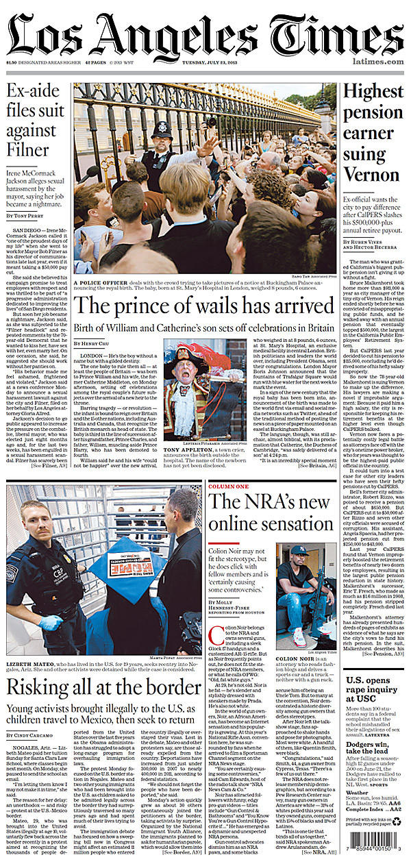L.A. Times front page on July 23, 2013