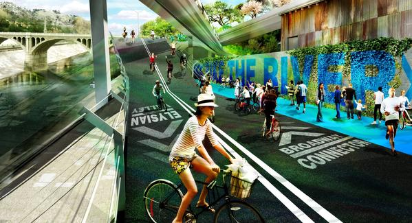 A rendering shows how an L.A. River bike path might look near North Broadway, north of downtown.