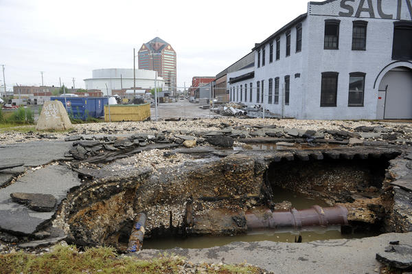 A large water main break in the 4300 block of Holabird Avenue has affected residents in Canton.