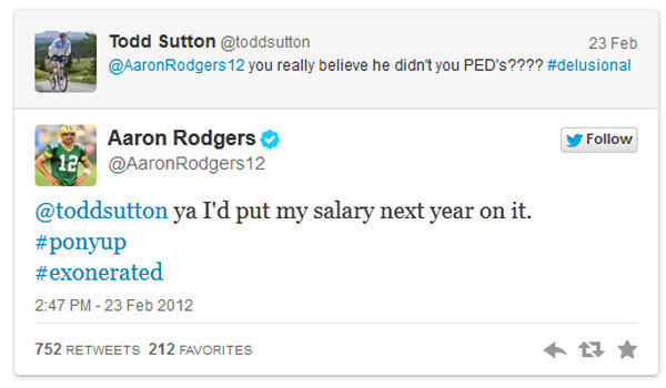 A screenshot from Yahoo! Sports shows a Twitter exchange between Green Bay quarterback Aaron Rodgers and a guy named Todd Sutton concerning Milwaukee Brewers slugger Ryan Braun.