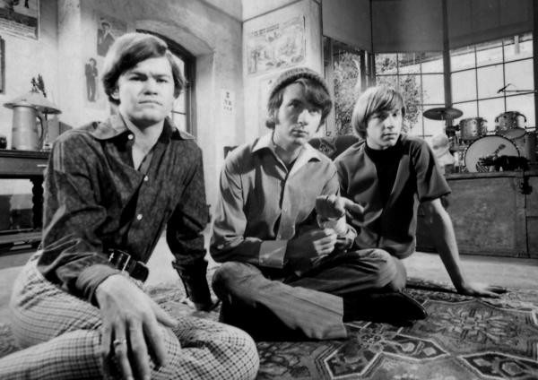 L-R: The Monkees' Micky Dolenz, Mike Nesmith and Peter Tork.