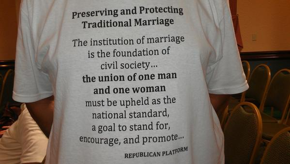 T-shirt worn by four Republicans opposing same-sex marriage at the monthly meeting of the Broward Republican Party.