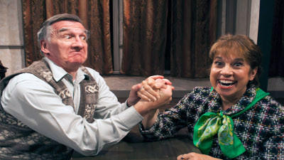 Actor Joe Joyce as Hector Lopez and actress Celeste Mancinelli as Mildred Sloan are dueling in-laws living in the same home with their children a married couple. They star in the show Squabbles, playing July 23 at the Mountain Playhouse.