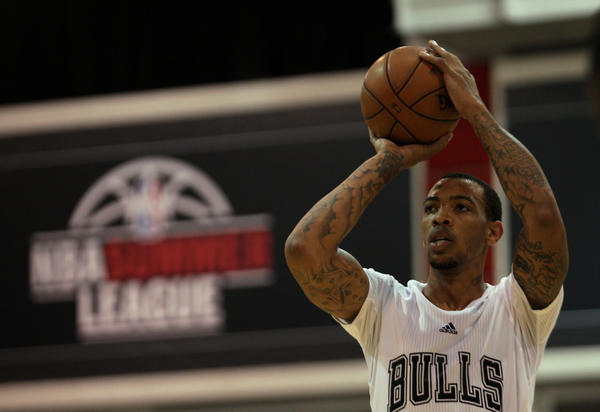 Malcolm Thomas takes a free throw attempt against the Miami Heat during an NBA Summer League game.