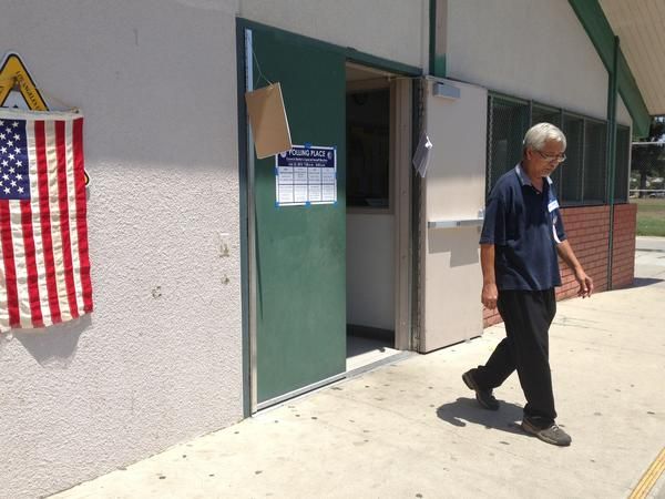 A poll worker in Panorama City