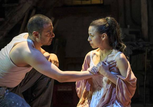 "Sandra Delgado (Medea) and Juan Francisco Villa (Jason) in ""Mojada."""