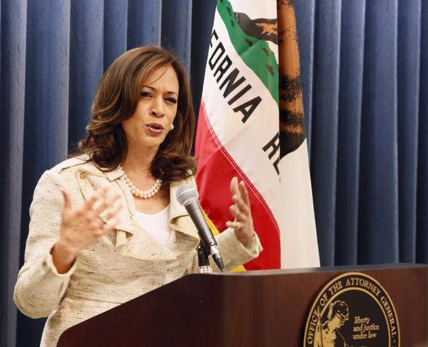 California Atty. Gen. Kamala Harris, shown in a file photo, announced the arrest of two state workers and a contractor in a bribery and fraud case.