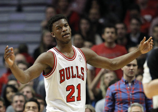 Bulls small forward Jimmy Butler questions a foul call in Game 3 of a second-round Eastern Conference playoffs series at the United Center.