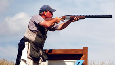 Jeff McCullough of Latrobe takes aim at the State Sporting Clay Championship Shoot.