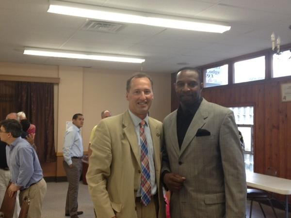 Deputy Mayor Jay Moran, left, and school board candidate Darryl Thames at the Democrats' caucus at the Elks Lodge.