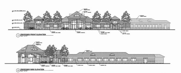 A rendering of the proposed exterior updates at the nursing facility at 263 Skokie Blvd. in Northbrook.