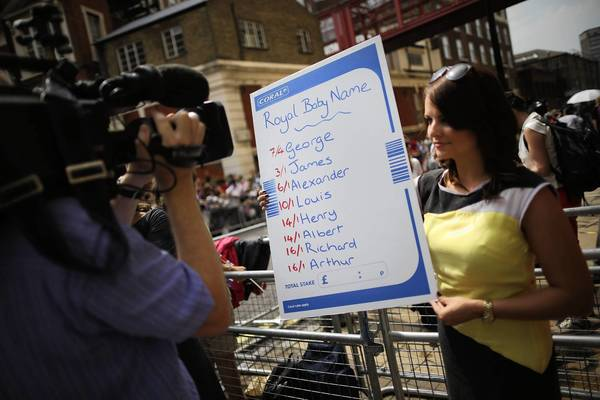 A bookmaker shows the odds on names for the newborn son of Prince William and Kate Middleton.