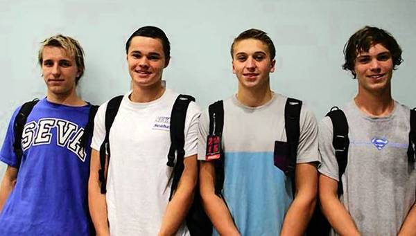 South Eastern Virginia Aquatics club members (from left) Nick Schwegel, Jonathan Spires, Tyler Titsch and Austin Ebel set state relay records in the Virginia Swimming Long Course Senior Championships in Richmond July 20-21.