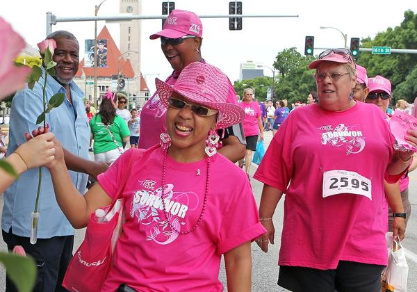 Breast cancer survivor Jacqueline Spears-Williams smiles at the finish of the 15th Annual Susan G. Komen St. Louis Race for the Cure in June. A new study finds that black women tend to be sicker than white women at the time of their diagnosis.