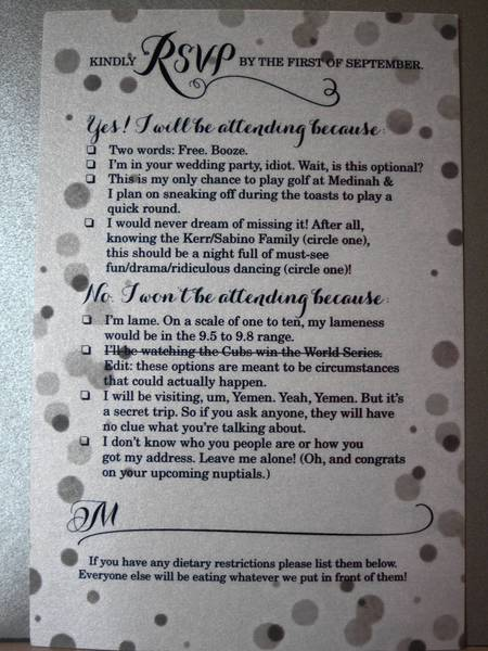 This wedding RSVP from a suburban couple went viral on the Internet.