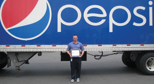 Matthew Mudge, second-shift product availability supervisor for Pepsi Co. in Williamsport, recently was honored with a Patriot Award in recognition of support of Staff Sgt. Daniel Myers, an employee serving in the Maryland Army National Guard.