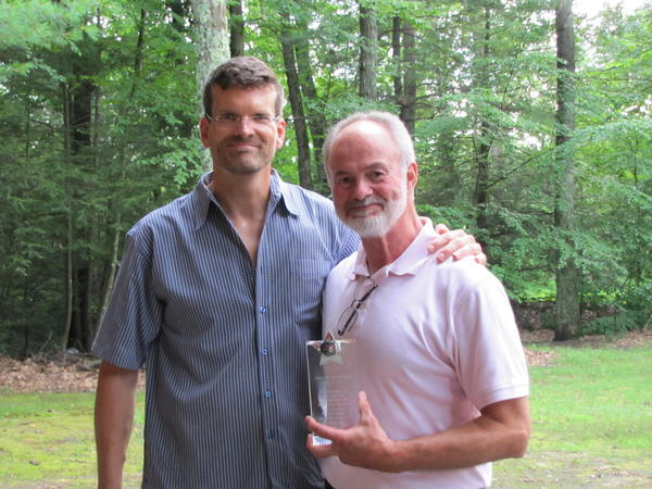 Favarh/Arc of the Farmington Valley Executive Director Stephen Morris, left, with Avon Old Farms School Headmaster Kenneth LaRocque. The school is the first recipient of Favarh's community partner award.