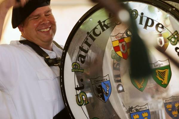 Bass drummer Tommy Dalton plays with the St. Patrick's Pipe Band during the 2012 Greater Hartford Irish Music Festival in Glastonbury.