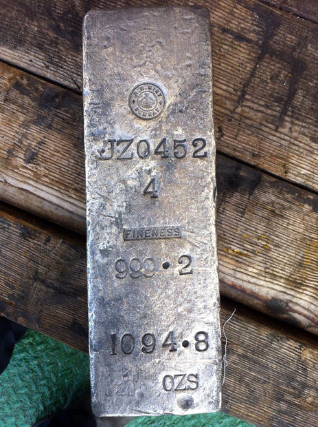 One example of a .999 fine silver ingot recovered dein the SS Gairsoppa shipwreck site.
