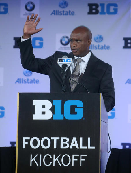 Purdue Boilermakers head coach Darrell Hazell speaks during the Big Ten media day at the Chicago Hilton.