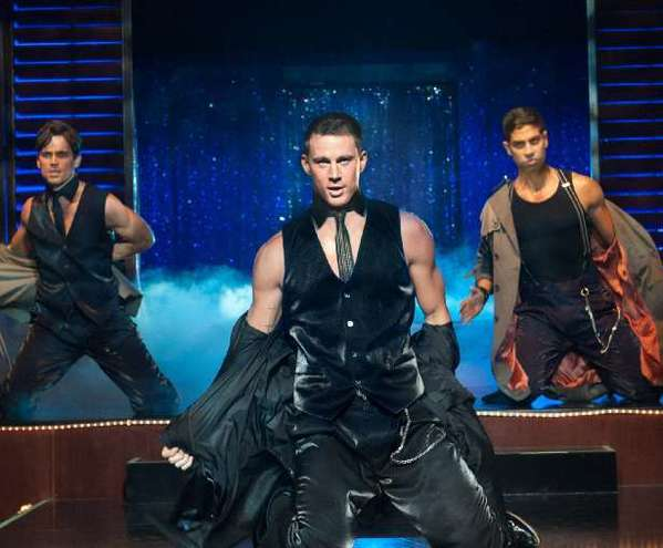 "Channing Tatum, center, in a scene from ""Magic Mike."" The star confirmed that the film is Broadway bound though no word yet on whether he'll be starring."