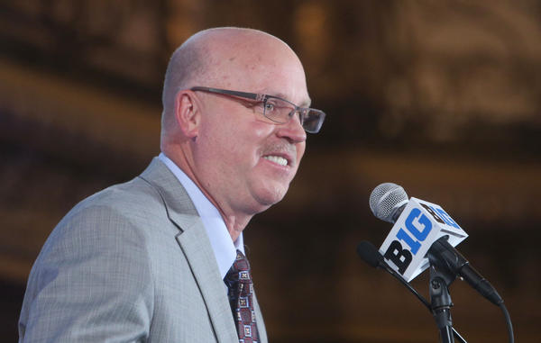 Minnesota Gophers head coach Jerry Kill speaks during the Big Ten media day at the Chicago Hilton.