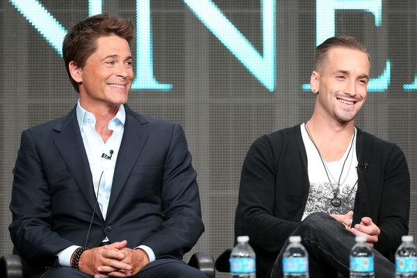 "Rob Lowe, left, and Will Rothhaar discuss ""Killing Kennedy"" Wednesday during the TCA press tour in Beverly Hills. Lowe plays John F. Kennedy and Rothhaar costars as Lee Harvey Oswald in the National Geographic TV film, set to air November."