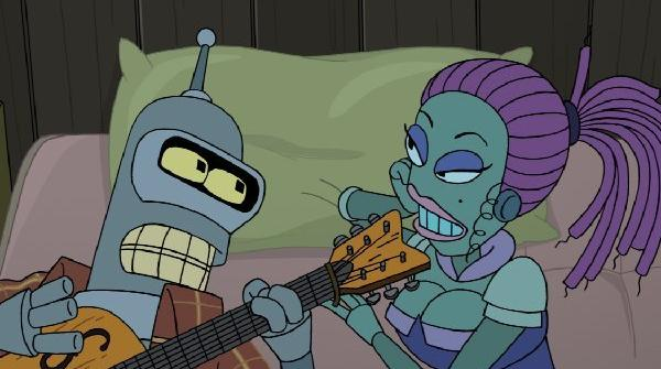 "Bender the robot in a tender musical moment from ""Futurama,"" now in its final season on Comedy Central."