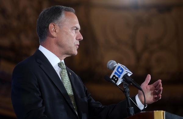 Michigan State head coach Mark Dantonio speaks during the Big Ten media day at the Chicago Hilton Wednesday.