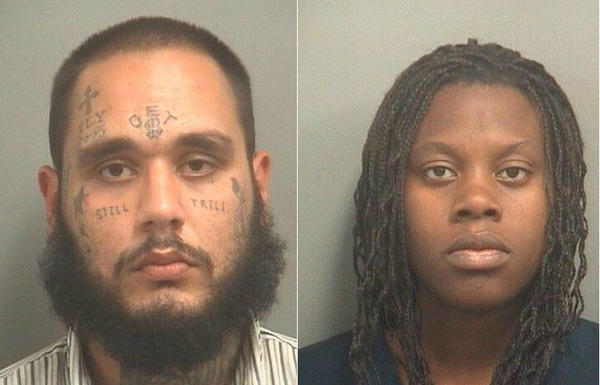 Michael Angelo Bonilla and Laneshia Watson, both 23 of Hallandale Beach, are accused of working together to steal more than $1,000 worth of handbags from Nordstrom at Town Center Mall on Monday and then coming back the next day. Police say security recognized the tattoos on Bonilla after he walked in the next day.