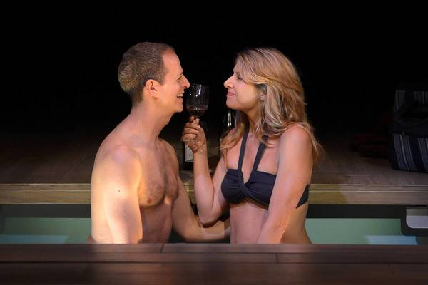 "Patrick Breen as Miles and Nadia Bowers as Maya in La Jolla Playhouse's production of ""Sideways."""