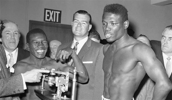 Emile Griffith, right, was taunted by Benny Paret, left, about his sexuality before their Madison Square Garden bout, after which Paret died of brain injuries.
