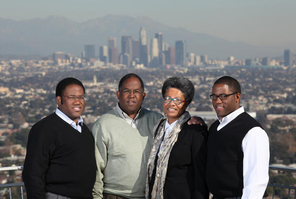 Sebastian Ridley-Thomas, left, a son of Los Angeles County Supervisor Mark Ridley-Thomas, is running for a state Assembly seat. He is shown with his father, mother Avis Ridley-Thomas and twin brother Sinclair Ridley-Thomas.