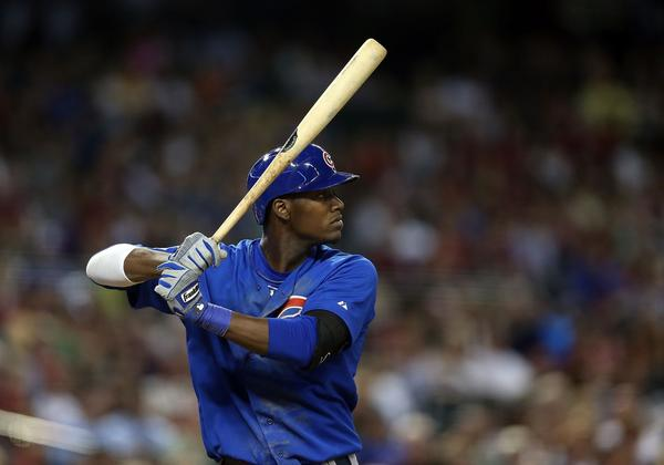 Cubs' Junior Lake bats against the Diamondbacks during the fifth inning at Chase Field on Monday.